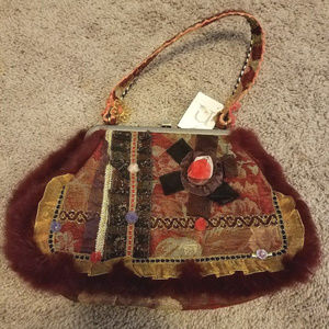NEW Nicole Lee purse w/faux fur trim Unique